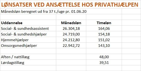 Lønsatser ved Privathjælpen