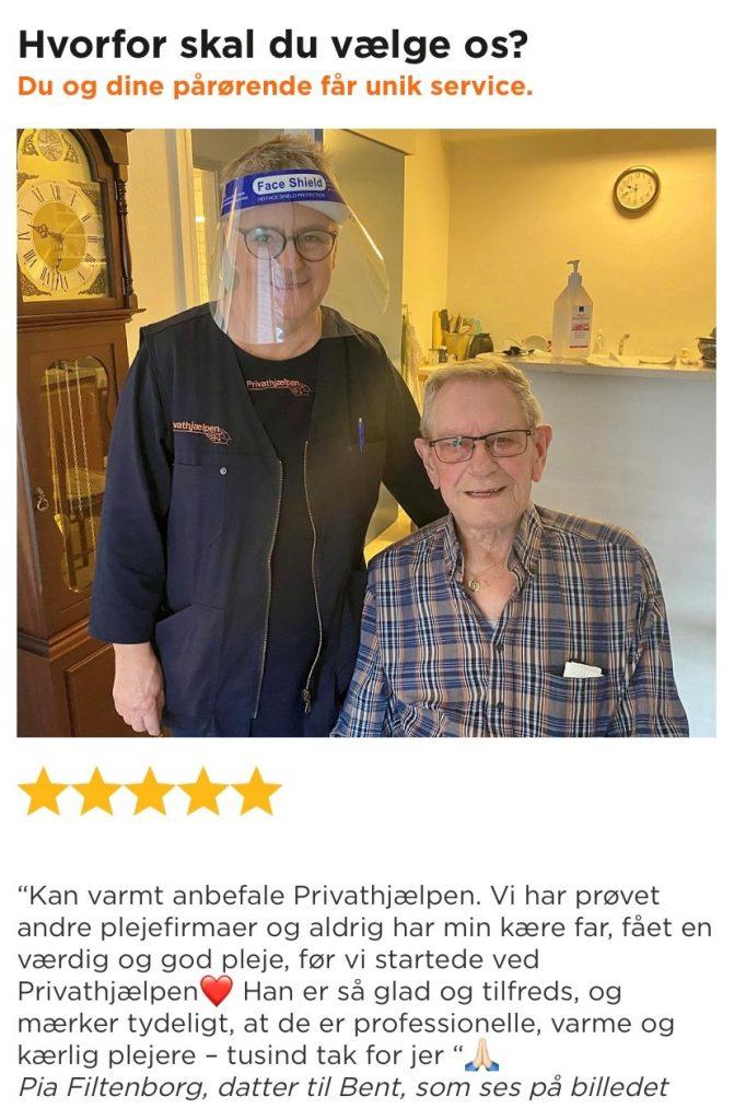 Anmeldelse af Privathjælpen Holstebro fra en pårørende.